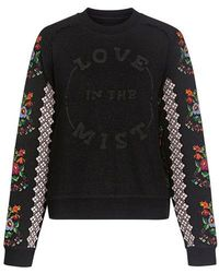 Needle & Thread - Woman Embroidered Cotton-blend Sweatshirt Black - Lyst