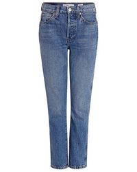 RE/DONE - Originals Double Needle High-rise Crop Tapered Jeans - Lyst