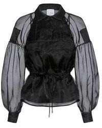 Stella Jean - Sheer Poet Sleeve Waist Tie Silk Blouse - Lyst