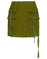 MSGM - Fringe Tweed A Line Mini Skirt - Lyst