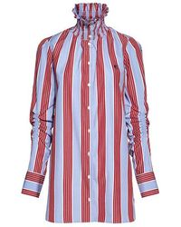 Carven - Smocked High-neck Ruched Sleeve Striped Shirt - Lyst