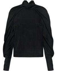 Carven - High Neck Pleated Dolman Sleeve Top - Lyst