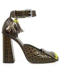 SUNO - Crocodile Ankle Strap High Heels - Lyst