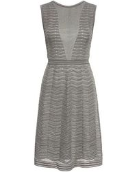 M Missoni - Metallic Zigzag Cut Out Back Knit Dress - Lyst