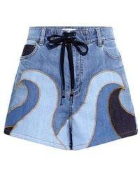 RED Valentino - Wave Drawstring Denim Shorts - Lyst