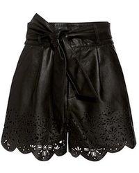 Marissa Webb - Jane High-rise Belted Leather Shorts - Lyst