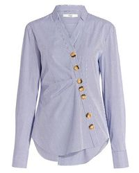 Tibi - Jones Asymmetrical Striped Shirt - Lyst