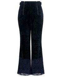 Marissa Webb - Victoria High-rise Corduroy Floral Lace Cropped Pants - Lyst