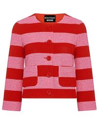 Boutique Moschino   Striped Waffle-knit Cotton Cropped Blazer   Lyst