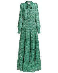 Alexis - Margeaux Peacock-print Tie-neck Maxi Dress - Lyst