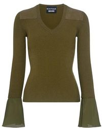 Boutique Moschino - Shoulder Patch V-neck Bell Sleeve Knit Top - Lyst