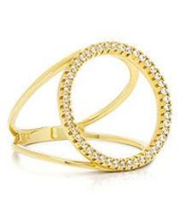 Fallon - Pave Solitaire Silhouette Ring - Lyst