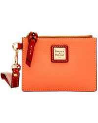 620a3e7b8a61 Lyst - COACH Envelope Card Case In Polished Pebble Leather in Metallic