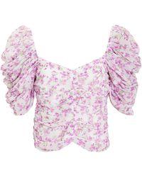 Caroline Constas Silk Floral Blouse Ivory/lilac L