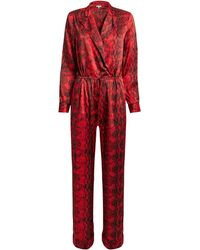 fe9563529a3 Lyst - Haute Hippie Snakeprint Strapless Drawstring Jumpsuit in Gray