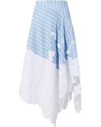 Jonathan Simkhai | Lace Hem Striped Skirt | Lyst