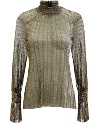 L'Agence - Paolo Gold Metallic Turtleneck Blouse - Lyst