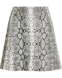 VEDA - Leather Snake Print Mini Skirt - Lyst