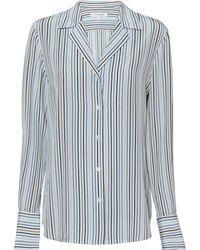 FRAME   Striped Silk Shirt   Lyst