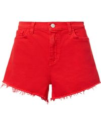 L'Agence - Ryland Siren Red Cut Off Shorts - Lyst
