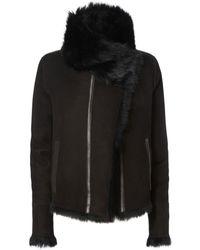 Yves Salomon - Reversible Black Shearling Coat - Lyst