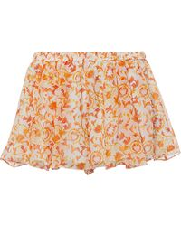 Caroline Constas - Pleated Printed Shorts - Lyst