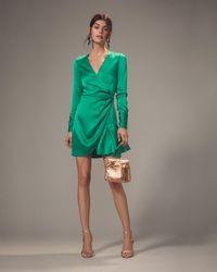 Alexis - Komosa Emerald Wrap Mini Dress - Lyst