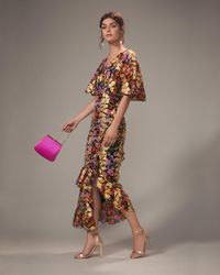 Saloni - Cape Overlay Metallic Floral Midi Dress - Lyst