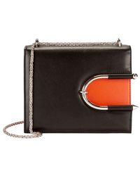 Mugler - Colorblocked Horseshoe Detail Leather Shoulder Bag - Lyst