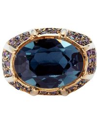Kenneth Jay Lane - Blue Crystal Cocktail Ring - Lyst