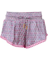 Paloma Blue - Fuchsia Eye Silk Shorts - Lyst