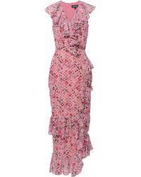 Saloni - Anita Pink Ruffle Dress - Lyst