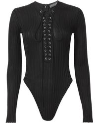 David Koma - Deep Front Lace-up Bodysuit - Lyst