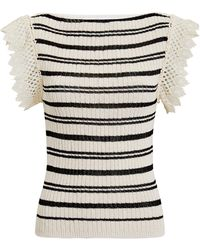 Philosophy Di Lorenzo Serafini - Crochet Detail Striped Knit Top - Lyst
