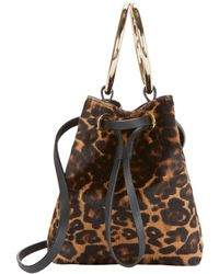 Maison Boinet - Haircalf Leopard Mini Bucket Crossbody - Lyst