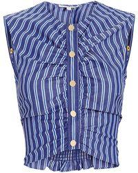 10 Crosby Derek Lam - Ruched Striped Crop Top - Lyst