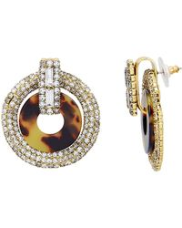 Elizabeth Cole - Tortoise And Crystal Earrings - Lyst