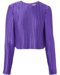 Tibi - Pleated Purple Crop Top - Lyst