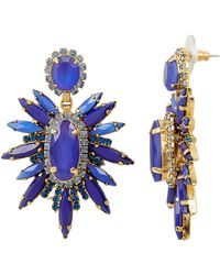 Elizabeth Cole - Carmella Statement Earrings Gold/blue 1size - Lyst