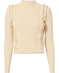 Philosophy Di Lorenzo Serafini - Gold Piping Ruffle Knit Sweater - Lyst