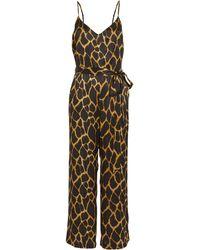 L'Agence - Jaelyn Silk Jumpsuit Brown/giraffe 2 - Lyst