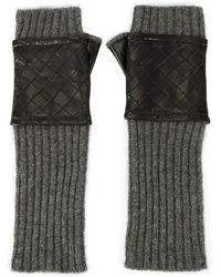 Carolina Amato - Leather-quilted Fingerless Knit Gloves - Lyst