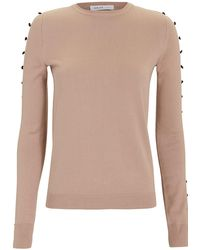 ADEAM - Camel Button Sleeve Sweater - Lyst