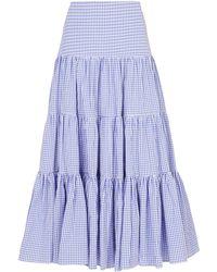 Caroline Constas - Gingham Peasant Maxi Skirt - Lyst