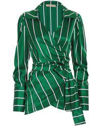 Maggie Marilyn - Wrap It Up Jade Stripe Silk Top - Lyst