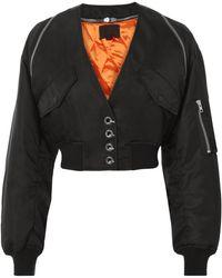 Alexander Wang - V-neck Cropped Bomber Jacket - Lyst