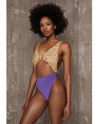 Ivyrevel - Twist Front Swimsuit Purple Zebra - Lyst