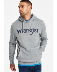 Wrangler - Grey Melange Logo Hoody - Lyst