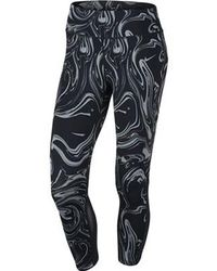 2d092339aad618 Nike Epic Run Snakeskin-print Capri Leggings in Black - Lyst
