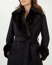 Jaeger - Faux Fur Collar And Cuffs Coat - Lyst